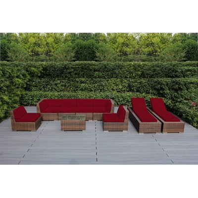 Ohana 9 Piece Seating Set with Chaise Lounges Fabric: Sunbrella Jockey Red, Finish: Mixed Brown