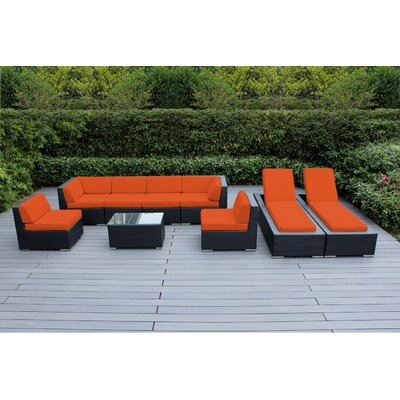 Ohana 9 Piece Seating Set with Chaise Lounges Fabric: Sunbrella Tuscan, Finish: Black