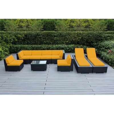 Ohana 9 Piece Seating Set with Chaise Lounges Fabric: Sunbrella Sunflower Yellow, Finish: Black