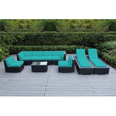 Ohana 9 Piece Seating Set with Chaise Lounges Fabric: Sunbrella Aruba, Finish: Black