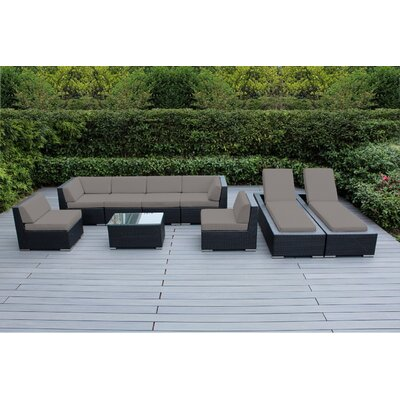 Ohana 9 Piece Seating Set with Chaise Lounges Fabric: Sunbrella Taupe, Finish: Black