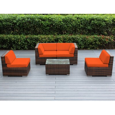 Lillian 5 Piece Deep Seating Group with Cushion Finish: Mixed Brown, Fabric: Sunbrella Tuscan