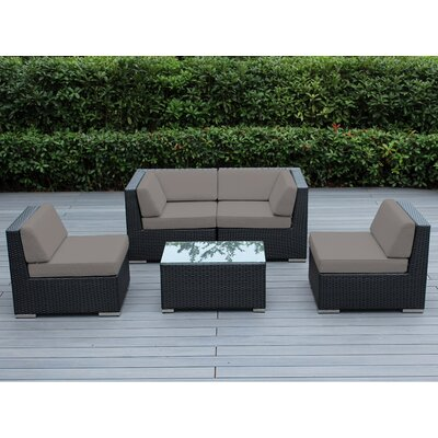 Lillian 5 Piece Deep Seating Group with Cushion Finish: Black, Fabric: Sunbrella Taupe