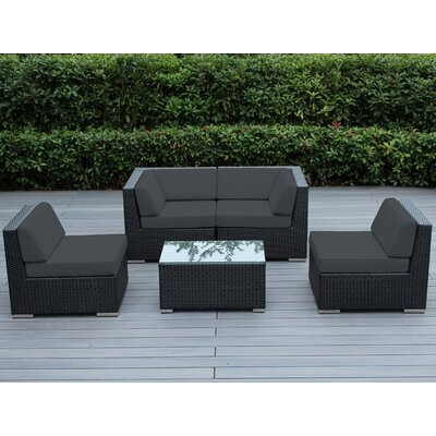 Lillian 5 Piece Deep Seating Group with Cushion Finish: Black, Fabric: Dark Gray