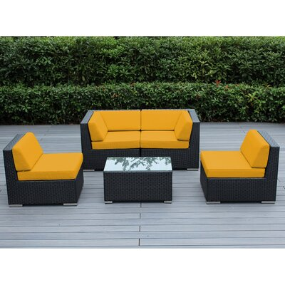 Lillian 5 Piece Deep Seating Group with Cushion Finish: Black, Fabric: Sunbrella Sunflower Yellow