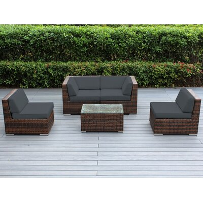 Lillian 5 Piece Deep Seating Group with Cushion Finish: Mixed Brown, Fabric: Dark Gray