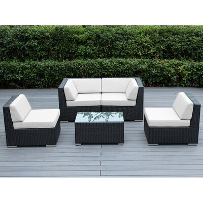 Lillian 5 Piece Deep Seating Group with Cushion Finish: Black, Fabric: Sunbrella Natural