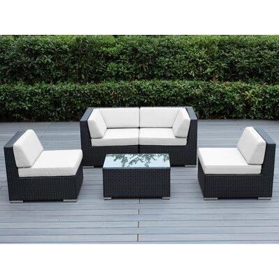 Lillian 5 Piece Deep Seating Group with Cushion Finish: Black, Fabric: Sunbrella Natural