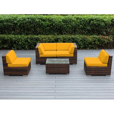 Lillian 5 Piece Deep Seating Group with Cushion Finish: Mixed Brown, Fabric: Sunbrella Sunflower Yellow