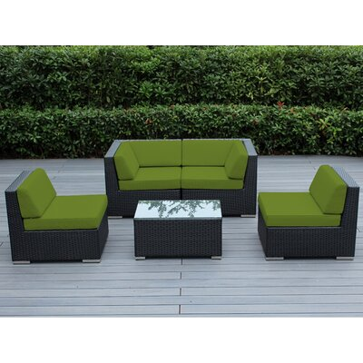Lillian 5 Piece Deep Seating Group with Cushion Finish: Black, Fabric: Sunbrella Macaw