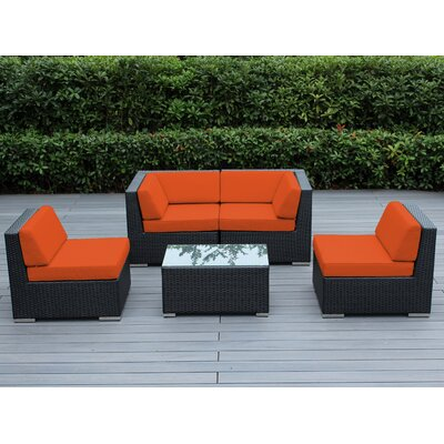 Lillian 5 Piece Deep Seating Group with Cushion Finish: Black, Fabric: Sunbrella Tuscan