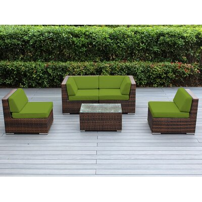 Lillian 5 Piece Deep Seating Group with Cushion Finish: Mixed Brown, Fabric: Sunbrella Macaw