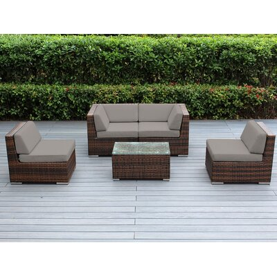 Lillian 5 Piece Deep Seating Group with Cushion Finish: Mixed Brown, Fabric: Sunbrella Taupe