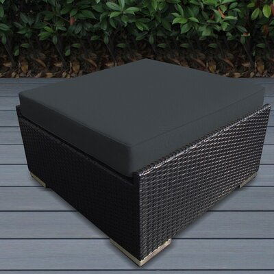 Kara Small Ottoman with Cushion Fabric: Sunbrella Bay Brown, Finish: Black