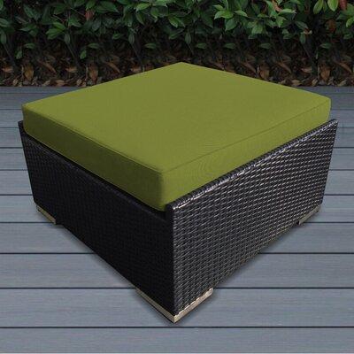 Kara Small Ottoman with Cushion Fabric: Sunbrella Macaw, Finish: Black