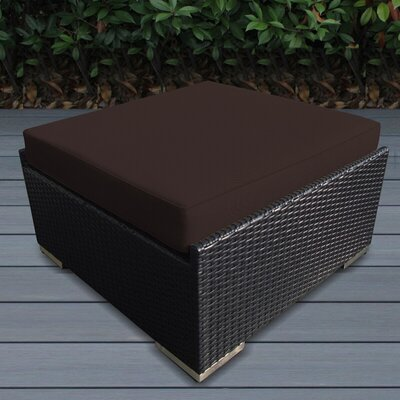 Jasmin Small Ottoman with Cushion Fabric: Brown, Finish: Black