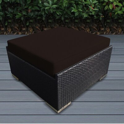 Christine Large Ottoman with Cushion Fabric: Brown, Finish: Black