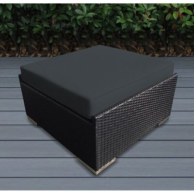 Jasmin Large Ottoman with Cushion Fabric: Dark Gray, Finish: Black