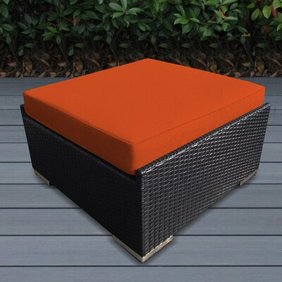 Jasmin Large Ottoman with Cushion Fabric: Sunbrella Tuscan, Finish: Black