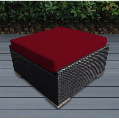 Jasmin Large Ottoman with Cushion Fabric: Red, Finish: Black
