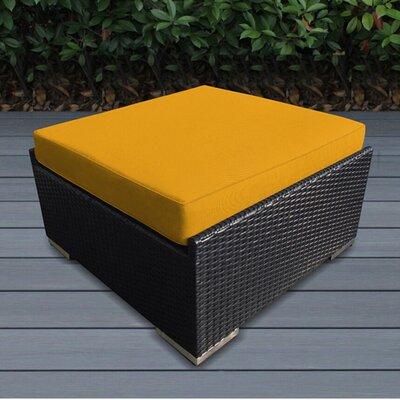 Jasmin Large Ottoman with Cushion Fabric: Sunbrella Sunflower Yellow, Finish: Black