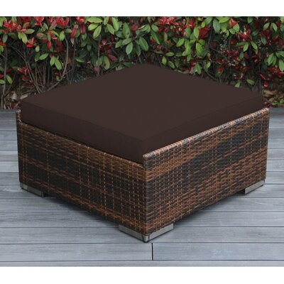 Jasmin Large Ottoman with Cushion Fabric: Sunbrella Bay Brown, Finish: Mixed Brown