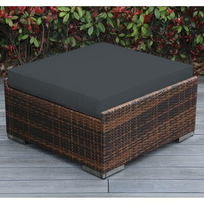 Jasmin Large Ottoman with Cushion Fabric: Dark Gray, Finish: Mixed Brown