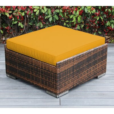 Christine Large Ottoman with Cushion Fabric: Sunbrella Sunflower Yellow, Finish: Mixed Brown