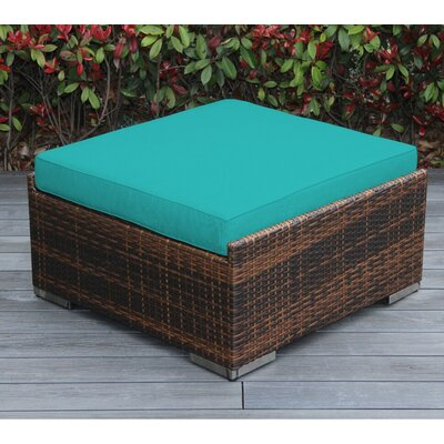 Jasmin Large Ottoman with Cushion Fabric: Sunbrella Aruba, Finish: Mixed Brown