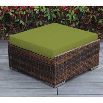 Christine Large Ottoman with Cushion Fabric: Sunbrella Macaw, Finish: Mixed Brown