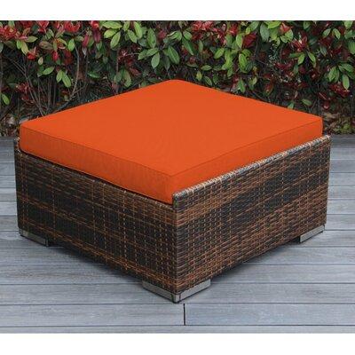 Jasmin Large Ottoman with Cushion Fabric: Sunbrella Tuscan, Finish: Mixed Brown