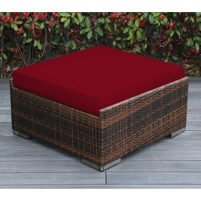 Jasmin Large Ottoman with Cushion Fabric: Red, Finish: Mixed Brown