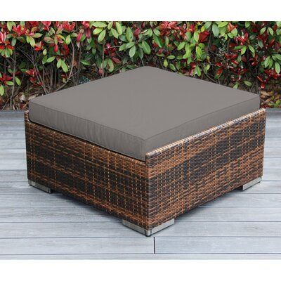 Jasmin Large Ottoman with Cushion Fabric: Sunbrella Taupe, Finish: Mixed Brown