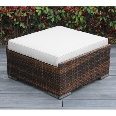 Christine Large Ottoman with Cushion Fabric: Sunbrella Natural, Finish: Mixed Brown