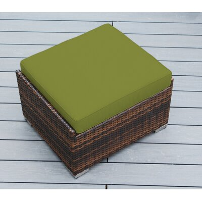 Jasmin Small Ottoman with Cushion Fabric: Sunbrella Macaw, Finish: Mixed Brown