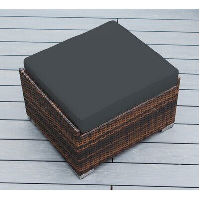 Jasmin Small Ottoman with Cushion Fabric: Dark Gray, Finish: Mixed Brown