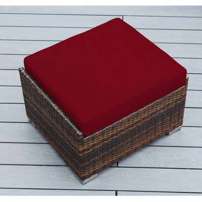 Jasmin Small Ottoman with Cushion Fabric: Red, Finish: Mixed Brown