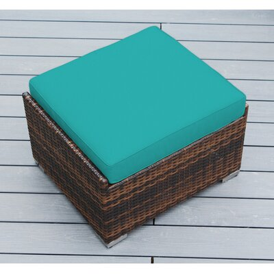 Kara Small Ottoman with Cushion Fabric: Sunbrella Aruba, Finish: Mixed Brown