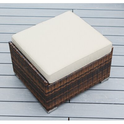 Jasmin Small Ottoman with Cushion Fabric: Beige, Finish: Mixed Brown