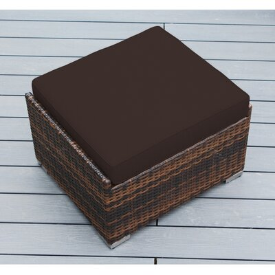 Jasmin Small Ottoman with Cushion Fabric: Brown, Finish: Mixed Brown