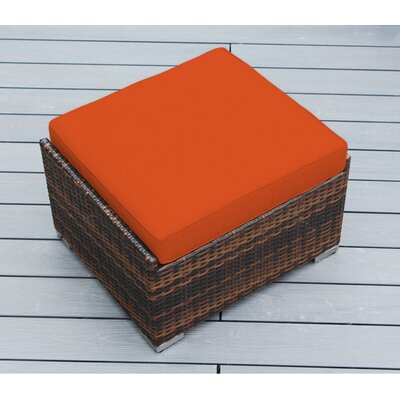 Jasmin Small Ottoman with Cushion Fabric: Sunbrella Tuscan, Finish: Mixed Brown