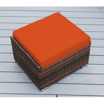 Jasmin Small Ottoman with Cushion Fabric: Sunbrella Tuscan, Finish: Mixed Brown