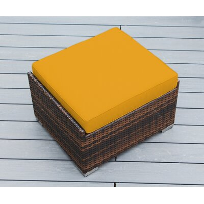 Kara Small Ottoman with Cushion Fabric: Sunbrella Sunflower Yellow, Finish: Mixed Brown