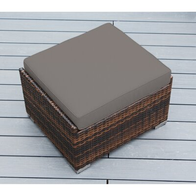 Jasmin Small Ottoman with Cushion Fabric: Sunbrella Taupe, Finish: Mixed Brown