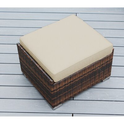 Jasmin Small Ottoman with Cushion Fabric: Sunbrella Antique Beige, Finish: Mixed Brown