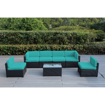 Mezzo 7 Piece Deep Seating Group with Cushion Fabric: Turquoise