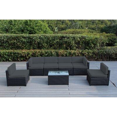 Mezzo 7 Piece Deep Seating Group with Cushion Fabric: Dark Gray