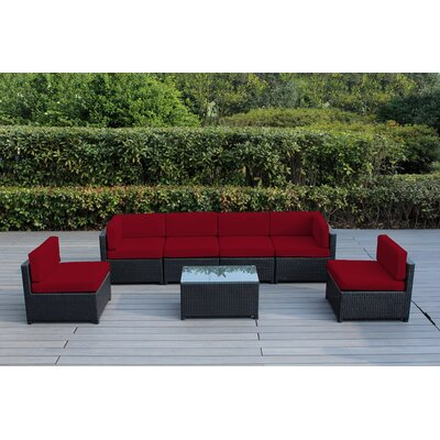 Mezzo 7 Piece Deep Seating Group with Cushion Fabric: Red