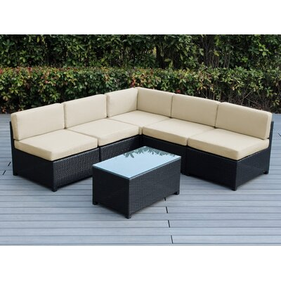 Mezzo 6 Piece Deep Seating Group with Cushion Fabric: Beige