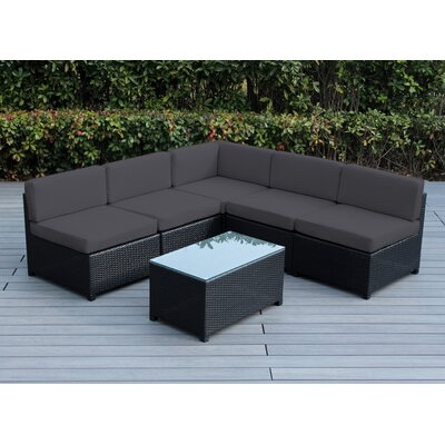 Mezzo 6 Piece Deep Seating Group with Cushion Fabric: Dark Gray